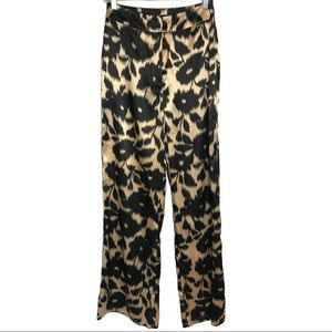 Nasty Gal Satin Animal Print High Rise Pant Size 6